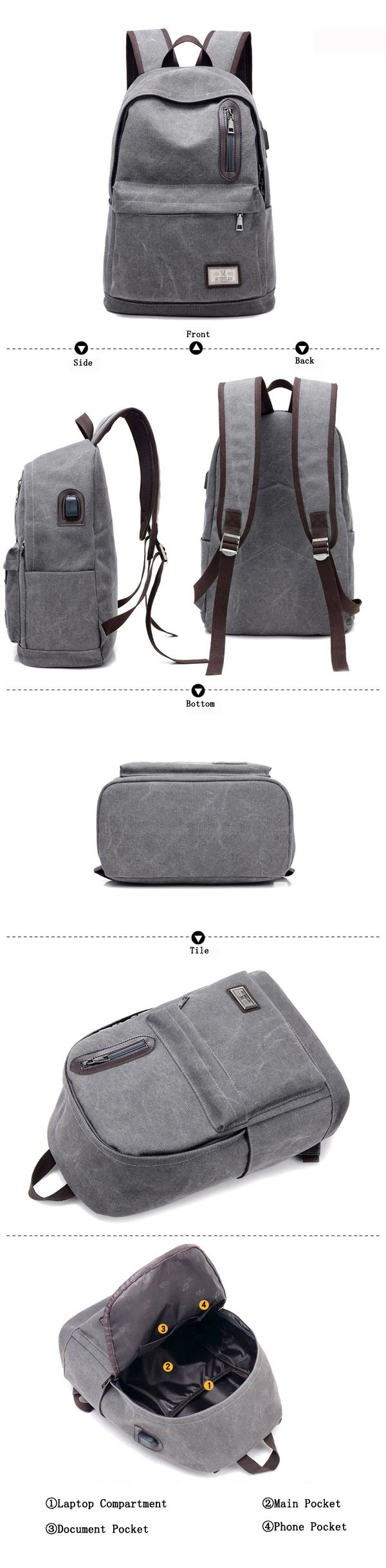 Men Fashion Backpack Canvas Casual Lightweight Mochila with External USB Charging Port