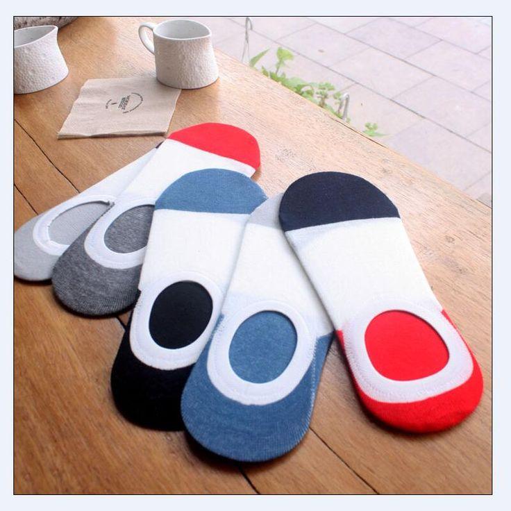 1 lot =5 pairs Mens Color Cotton Invisible Socks Non-slip