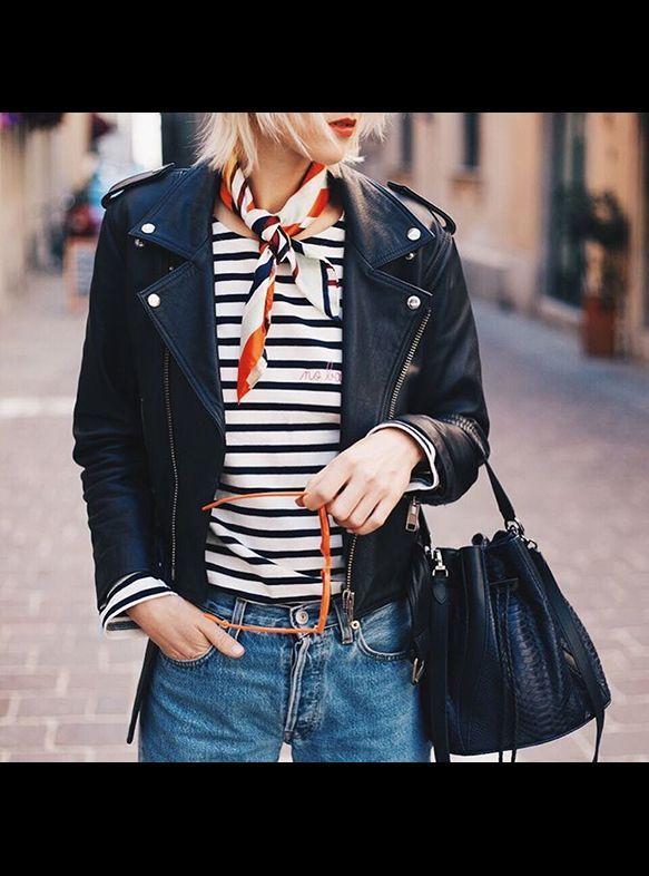 Leather moto jacket, striped tee shirt, neck scarf, french girl style, paris street style