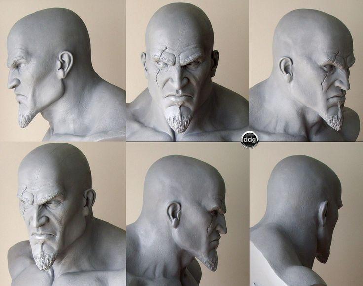 Kratos Bust life size, Diego DDG Gonzalez on ArtStation at http://www.artstation.com/artwork/kratos-bust-life-size