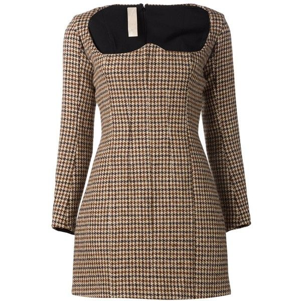 Y / Project tweed bustier dress ($288) ❤ liked on Polyvore featuring dresses, brown, short dresses, back zipper dress, longsleeve dress, brown bustier and brown dress