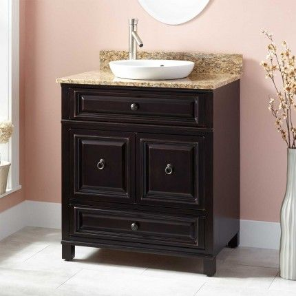 30 orzoco vanity for semi recessed sink espresso bath for Espresso vanity bathroom ideas