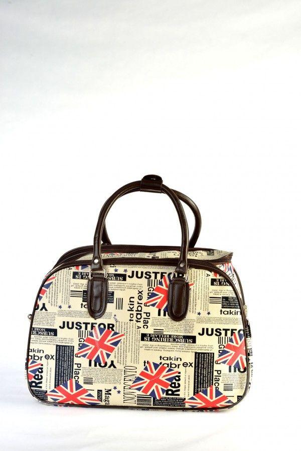 Τσάντα χειρός και ώμου μικρό μέγεθος, εκρού με σχέδιο αγγλική σημαία, δερμάτινη υφή.