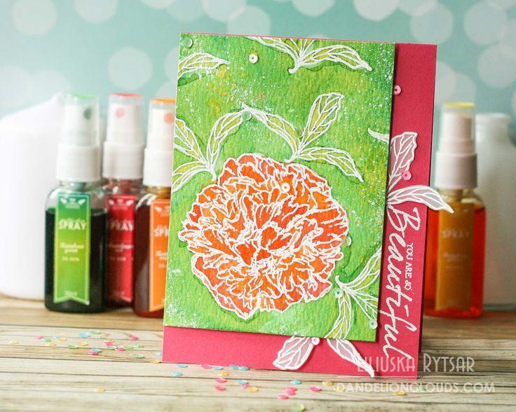 Розмальовування спреями... Orange Peony Card - Dandelion Clouds
