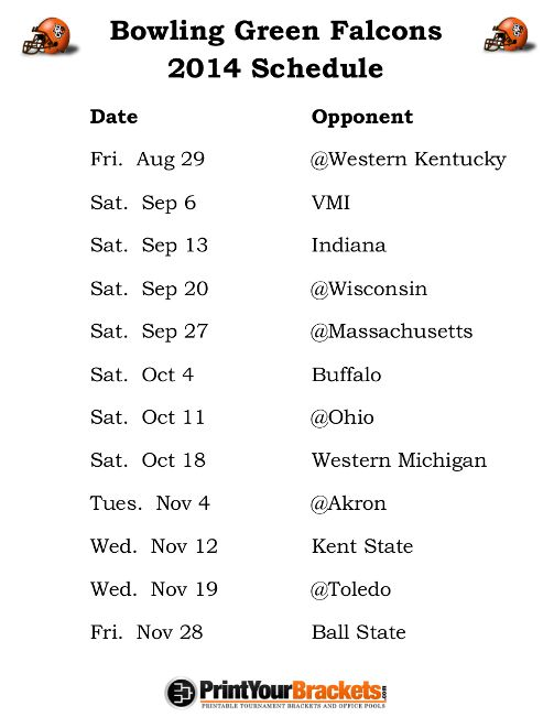 Printable Bowling Green Falcons Football Schedule 2014