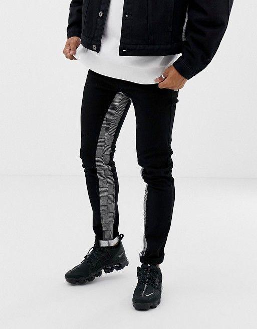63a9aad2 Liquor N Poker slim fit jeans with heritage print inside stripe in black