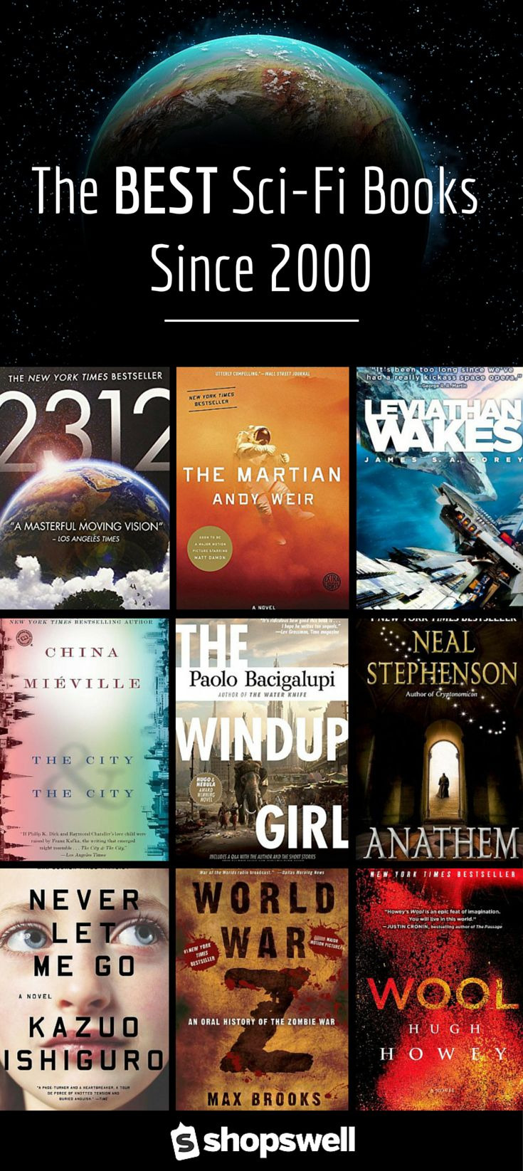 35 of the BEST Sci-Fi Books published since the year 2000 - including World War Z, Wool, the Windup Girl, and The Martian.