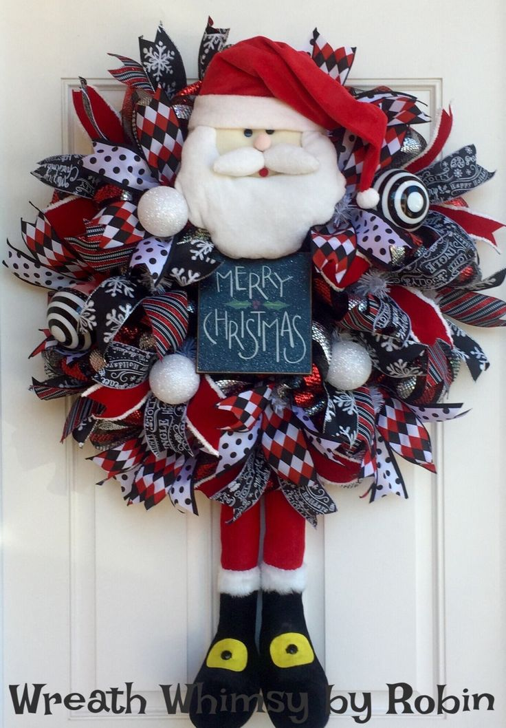 XL Deco Mesh Christmas Santa Claus Wreath in Red, Black & White, Holiday Wreath, Front Door Wreath, Santa Decor, Modern Christmas Wreath by WreathWhimsybyRobin on Etsy