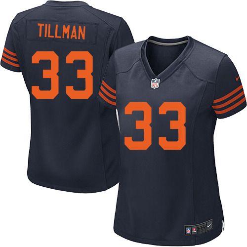 79.99 womens nike chicago bears 33 charles tillman elite 1940s throwback alternate navy blue jersey