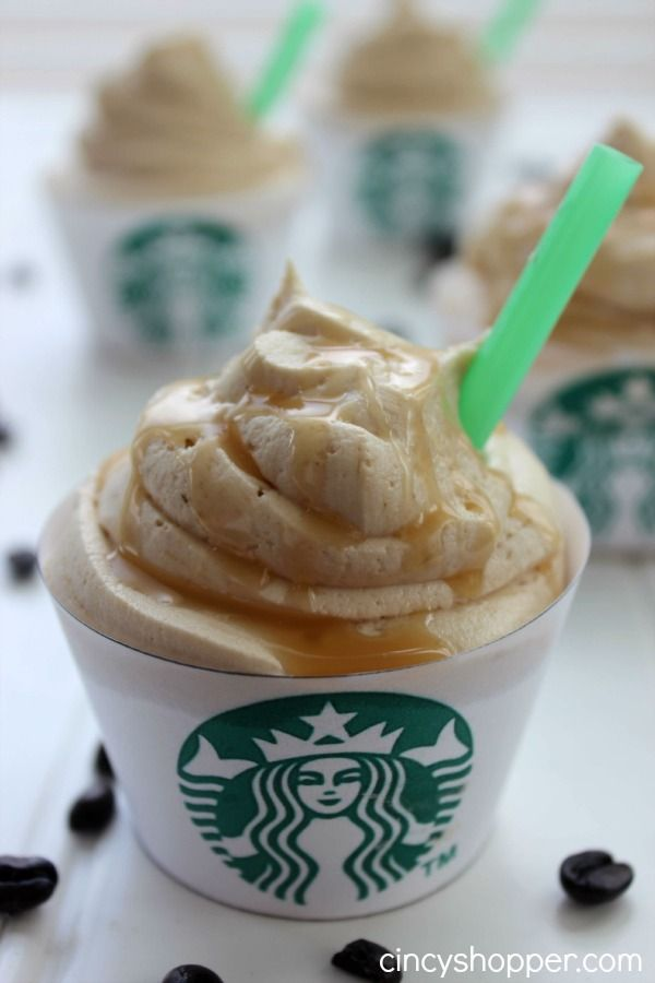 "Starbucks Caramel Frappuccino Cupcake. My new favorite cupcake. ""Over the top"" tasty! Plus a free printable cupcake wrapper."
