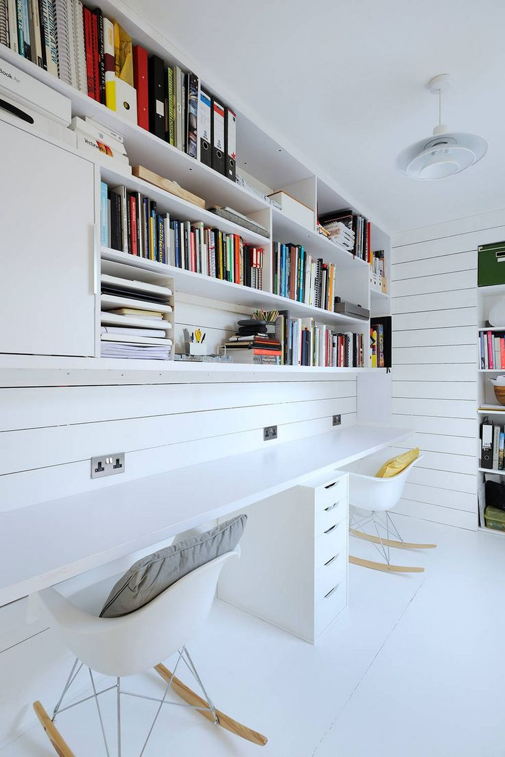 Scandinavian home Design ideas with White walls Bookshelves and a built-in Desk
