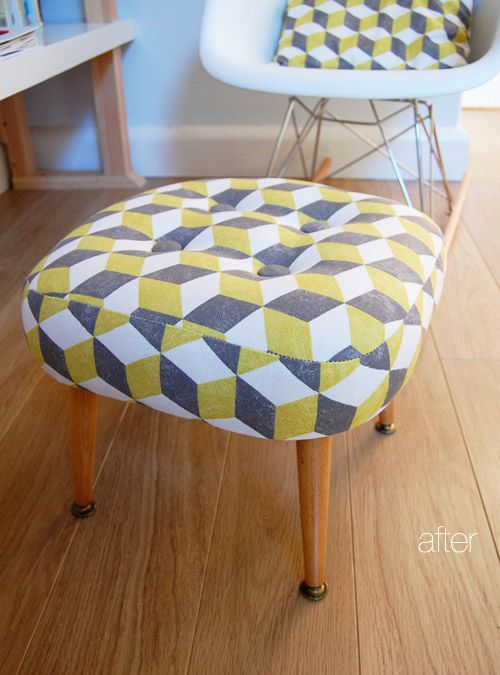 love how this reupholstered stool looks. like the matching pattern with the pillow in the Eames RAR #stool #furniture