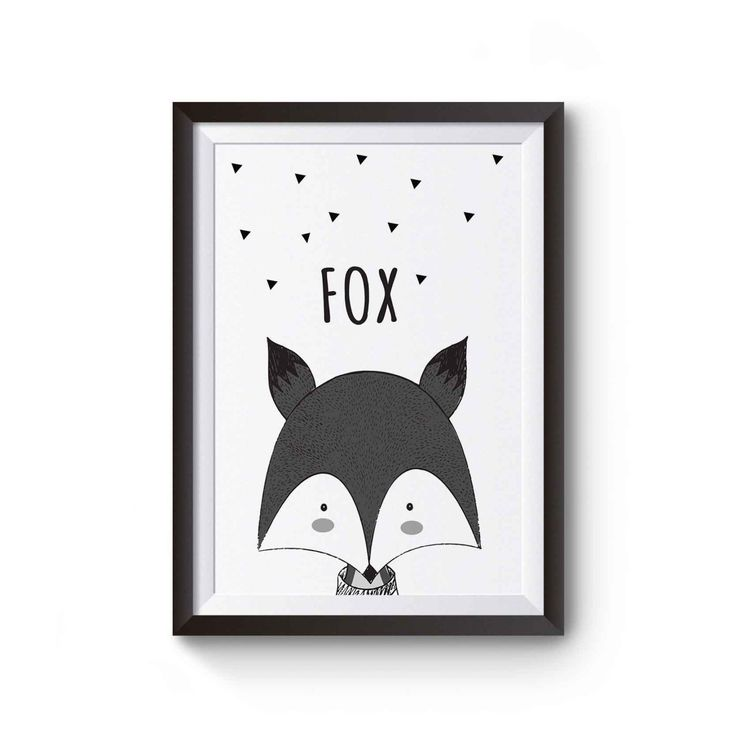 monochrome fox print black and white wall art print for kids or nursery room in A4 size and 8.5x11 inches digital download woodlands print
