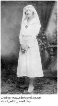 Nurse Edith Cavell wearing nursing uniform featuring the nun's veil type of head covering.