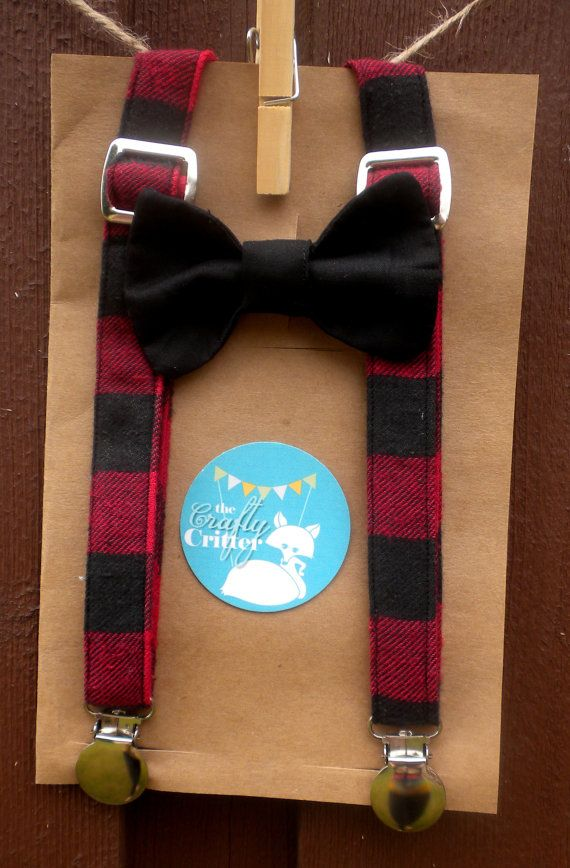 READY TO SHIP!!!!!! Baby Suspender and Bow Tie Set~ christmas suspenders ~christmas photo prop~ Buffalo Check~ Hipster on Etsy, $24.00