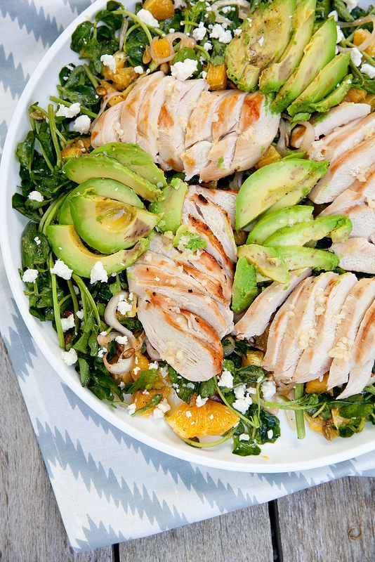 Grilled Tequila Chicken Salad with Avocado, Orange and Pepitas