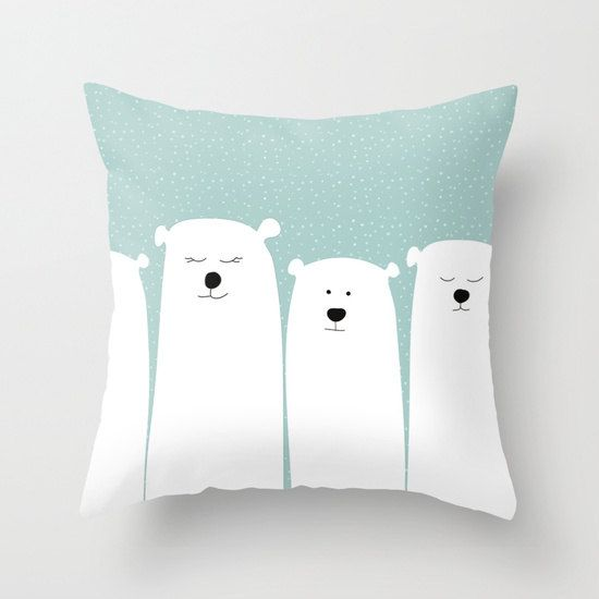 Polar Bear Pillow Personalized Color Cover or and Insert 13x13x 16x16 20x20 Kids Room Cushion Decor Modern Cabin Cute Animal Gift Birthday