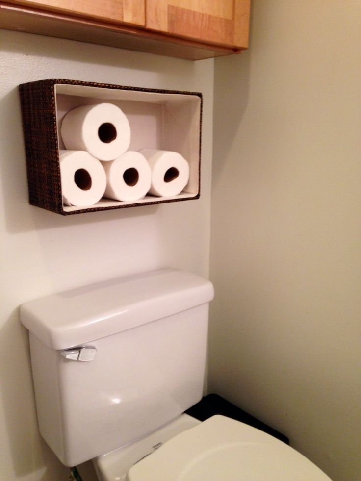 Toilet paper holder basket from container store. $12.99 used industrial strength Velcro to attach to wall!