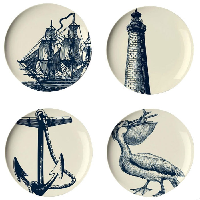 Thomas Paul 4 Piece Scrimshaw Dessert Plate Set >> I love these!