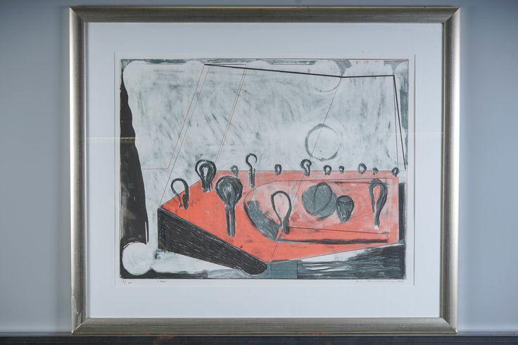 Jan Kenneth Weckman: Scen, 1989, litografia, 50x65 cm, edition 48/100 - Huutokauppa Helander 10/2015