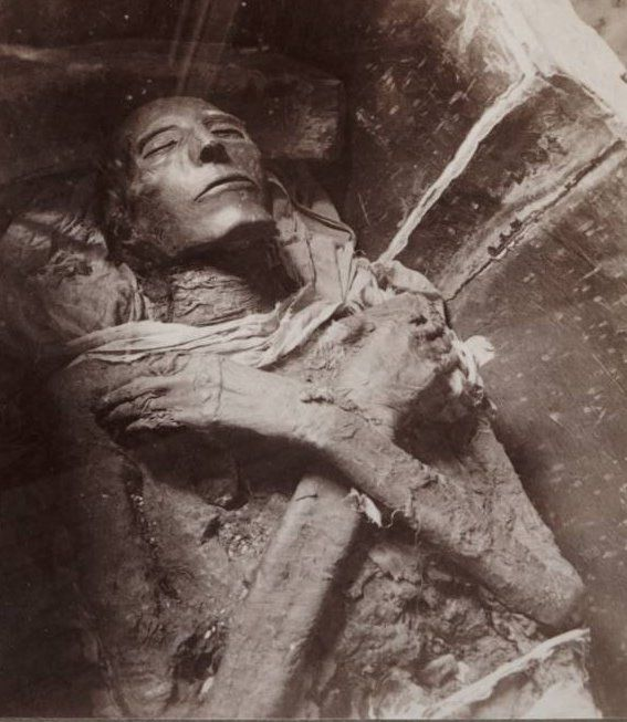 EGYPT ~ Mummified remains of Pharaoh Seti I, 19th Dynasty, one of the best-preserved Egyptian mummies, as photographed by Emil Brugsch (1842-1930). Seti I was the father of Ramses the Great (Rameses II).