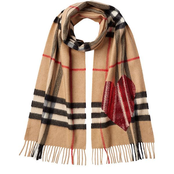 Burberry Checked Cashmere Scarf ($740) ❤ liked on Polyvore featuring accessories, scarves, multicolor, burberry shawl, red cashmere shawl, cashmere shawl, burberry scarves and cashmere scarves