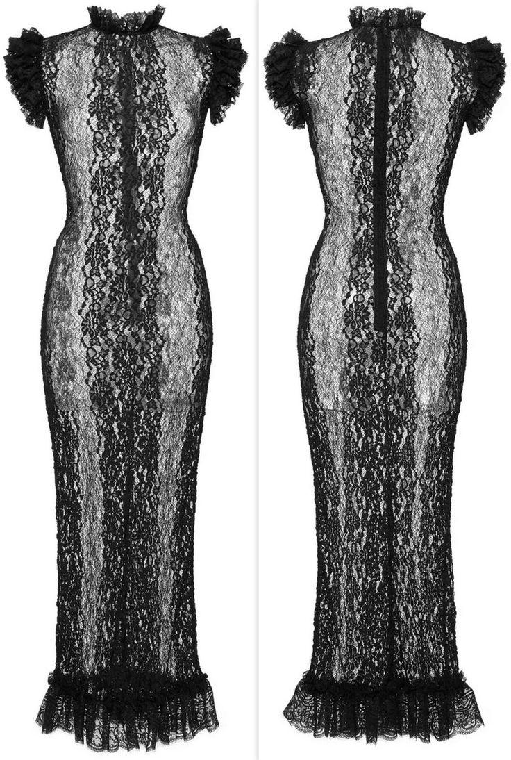 Black Sheer Lace Sheath Dress-Black Slip Included