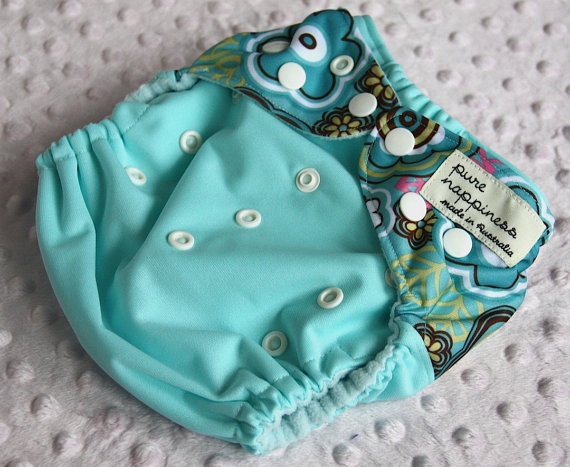 One-size-fits-most cloth nappy- Seaspray Flowers. $18.00, via Etsy.