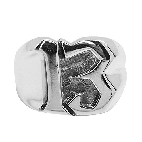 AnazoZ S925 Sterling Silver Retro Style High Polished Luckly Number 13 Engravable Men Rings--238.99