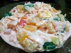 Buko Salad  || 4 cups young coconut (buko), shredded 12 ounces coconut gel (nata de coco), drained 8 ounces pineapple chunks, drained 7 ounces table cream 6 ounces sugar palm fruit (kaong), drained 2 cans fruit cocktail, drained 1 can sweetened condensed milk