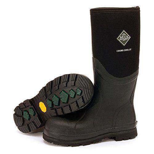 Muck Boot Men's Chore Cool 16'' Steel Toe Boots, Black Rubber, Neoprene, 13 M