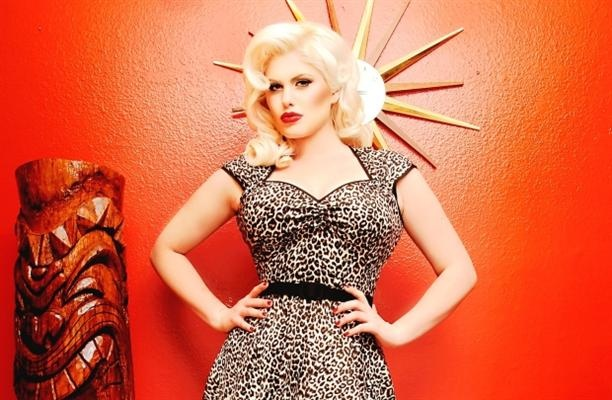 Leopard print dress from Pinup Girl clothing at Rowena.
