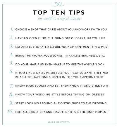 Wedding Dress Shopping Tips: http://www.stylemepretty.com/2015/01/14/10-tips-for-wedding-dress-shopping/