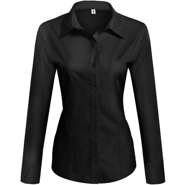 HOTOUCH Womens long Sleeve Button Down Shirt with Stretch ($9.99) ❤ liked on Polyvore featuring tops, stretchy tops, stretchy long sleeve shirts, long sleeve stretch top, button up shirts and long-sleeve shirt