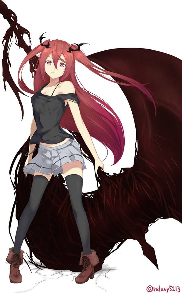 Anime girl red hair. She looks like she could be a yandere