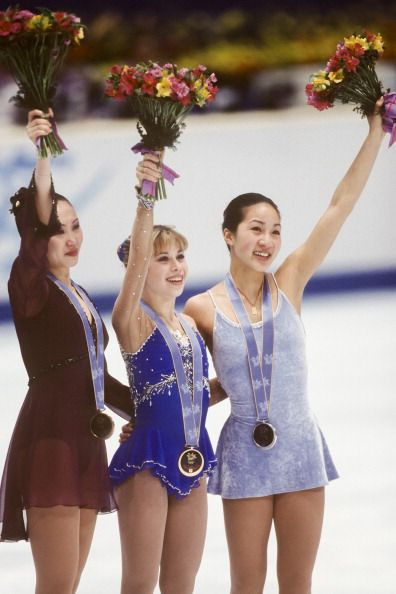 Chen Lu, Tara Lipinski  and Michelle Kwan - 1998 Winter Olympics