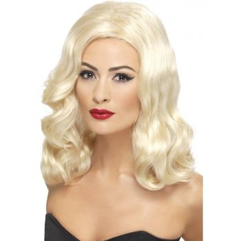 Twenties pruik blond  Blonde jaren 20 damespruik. Blonde glamour pruik met golvend haar in de stijl van de jaren 20.  EUR 17.99  Meer informatie