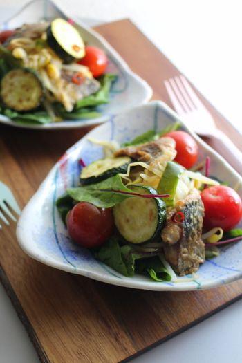 健康志向な方には、魚と野菜をバランスよく使ったヘルシーサラダレシピを。彩りも豊かになりますね。
