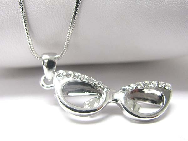 White gold plated crystal glasses pendant necklace