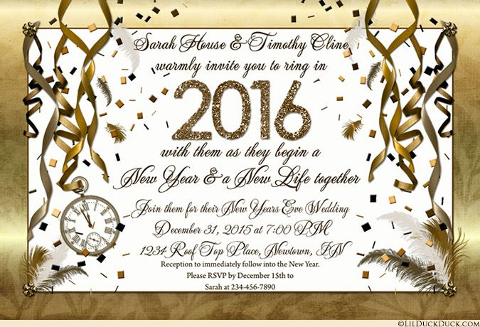 New Year, new life together wedding invitations warmly invite guests to ring in 2016 with you for your New Years Eve wedding! What a dream come true