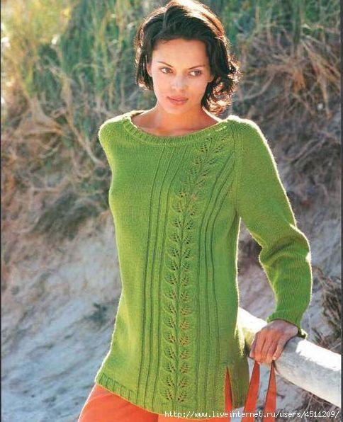Удлиненный пуловер спицами.. Обсуждение на LiveInternet - Российский Сервис Онлайн-Дневников