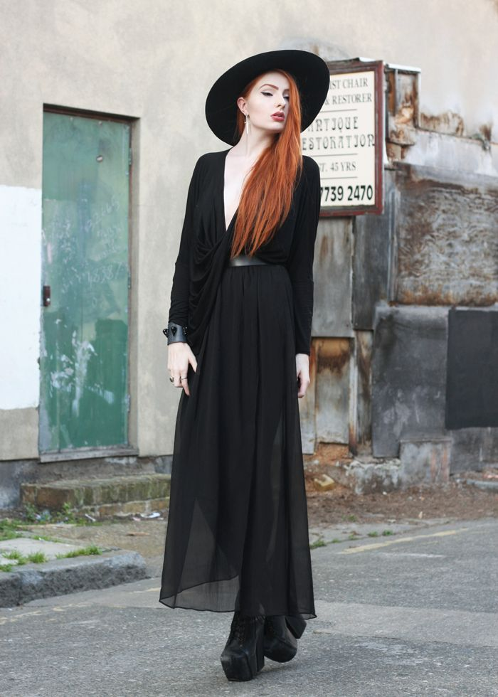 Olivia Emily - UK Fashion Blog.: Violet. #Black #Orange hair #Gothic