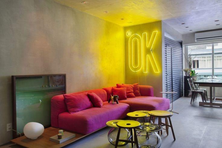 decoracao de sala para homens solteiros: De Parede De Neon no Pinterest