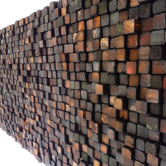Colored and Burnt Wooden Wall Sculpture - Smoke Damaged Stack - Blackened Earth Tones on Etsy, $765.00