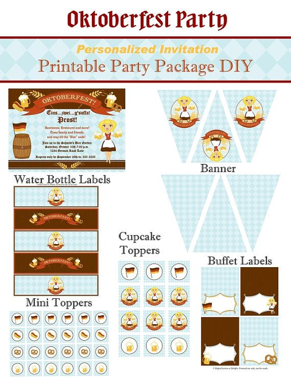 German Oktoberfest Personalized Invitation Printable Party Package DIY