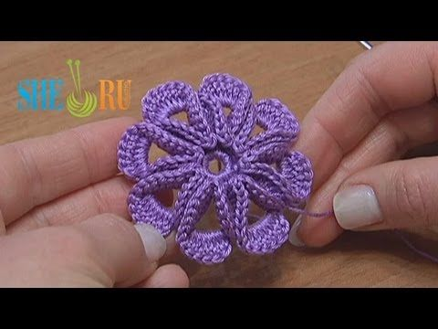 Crochet 8-petal 3D Flower Tutorial 5 - YouTube - This gals tutorials are fantastic - she makes it so clear on where and how to put the stitches that it makes beautiful and unique flowers easy!