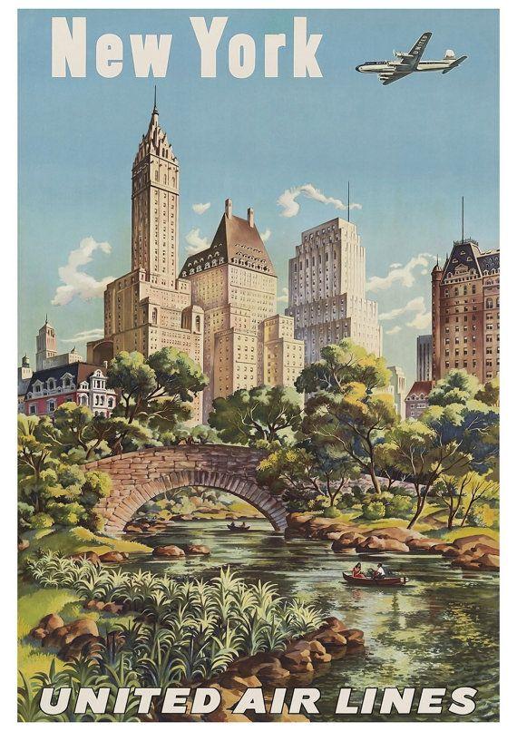 Sta jezelf toe Mijmer; deze prachtige vintage New York advertentie uit de vorige eeuw vangt de romantiek van reizen, en de allure van verre bestemmingen!  De afbeelding is professioneel gescand; vlekken zijn geraakt van, waar nodig, maar zonder afbreuk te doen aan de integriteit van het oorspronkelijke ontwerp.  De illustratie wordt afgedrukt op premie 200gsm satijn fotografische posterpapier, zonder randen - het beeld gaat naar de rand van het papier.  Kies uit twee maten:  -A4-formaat (210…