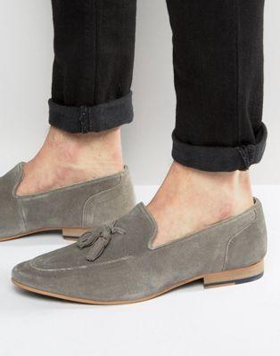 KG By Kurt Geiger Tassel Loafers In Grey Suede
