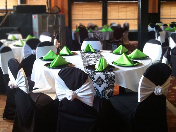 White And Black And Lime Green Wedding Table Settings