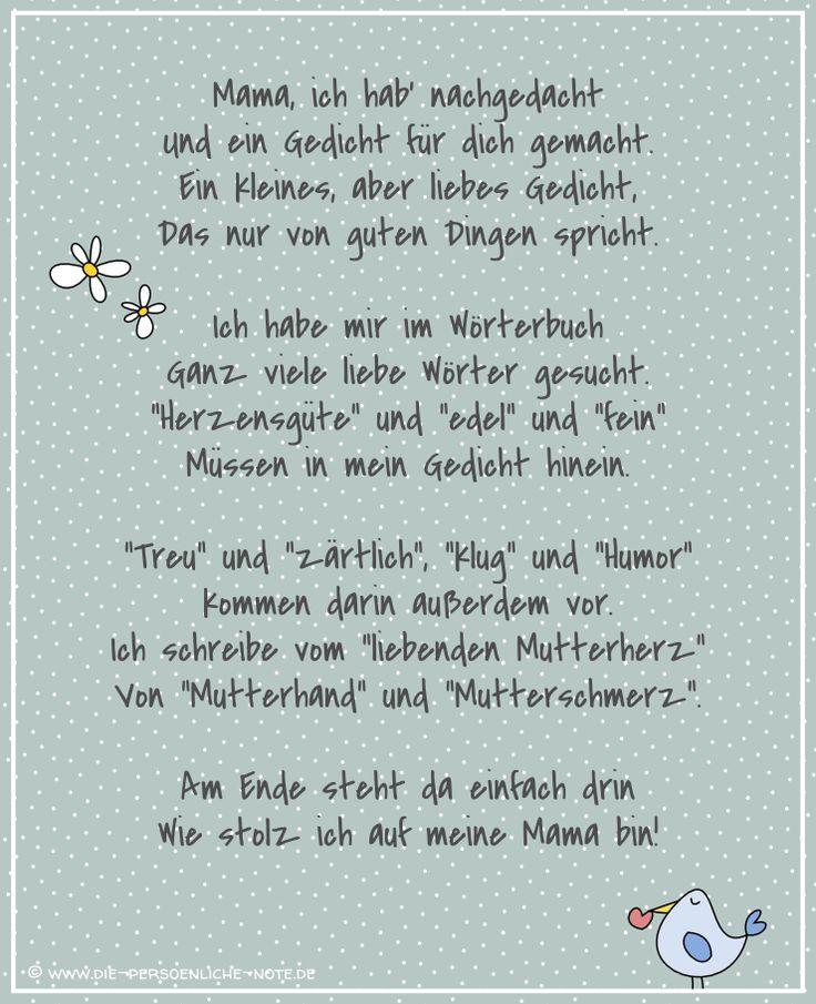 Die Persönliche Note: Freebie: Muttertagsgedicht für Kinder